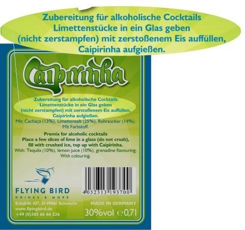 Caipirinha Cocktail Rezept und Zutaten Info auf dem Flaschen Rücketikett