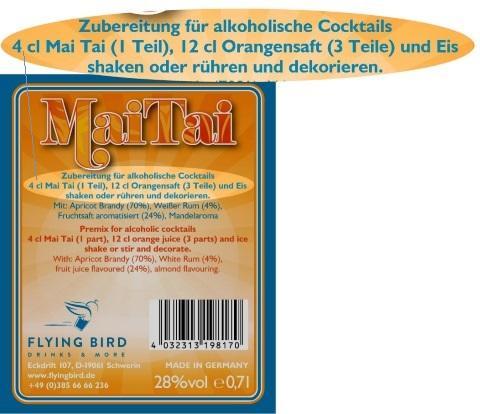 Mai Tai Cocktail Rezept und Zutaten Info auf dem Flaschen Rücketikett