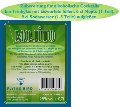 Mojito Cocktail Rezept und Zutaten Info auf dem Flaschen Rücketikett