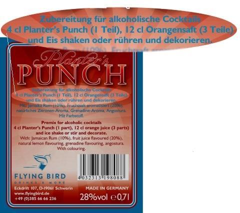 Planters Punch Cocktail Rezept und Zutaten Info auf dem Flaschen Rücketikett
