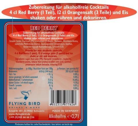 Red Berry Cocktail Rezept alkoholfrei und weitere Zutaten Info auf dem Flaschen Rücketikett