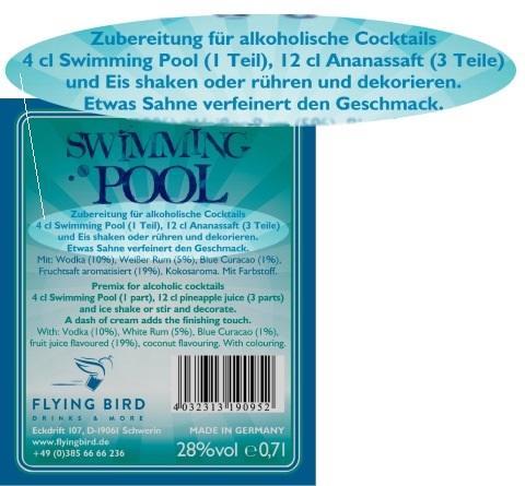 Swimming Pool Cocktail Rezept und Zutaten Info auf dem Flaschen Rücketikett