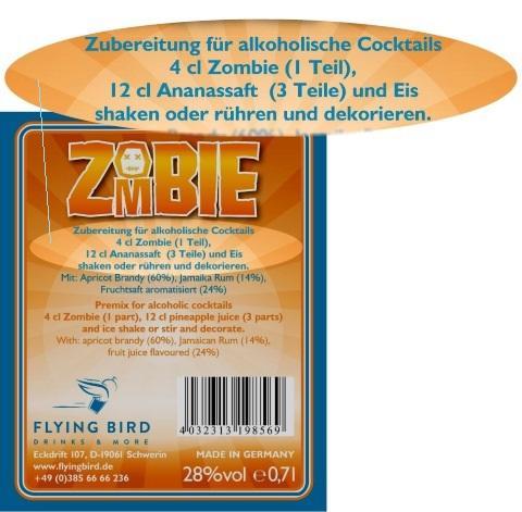 Zombie Cocktail Rezept und Zutaten Info auf dem Flaschen Rücketikett