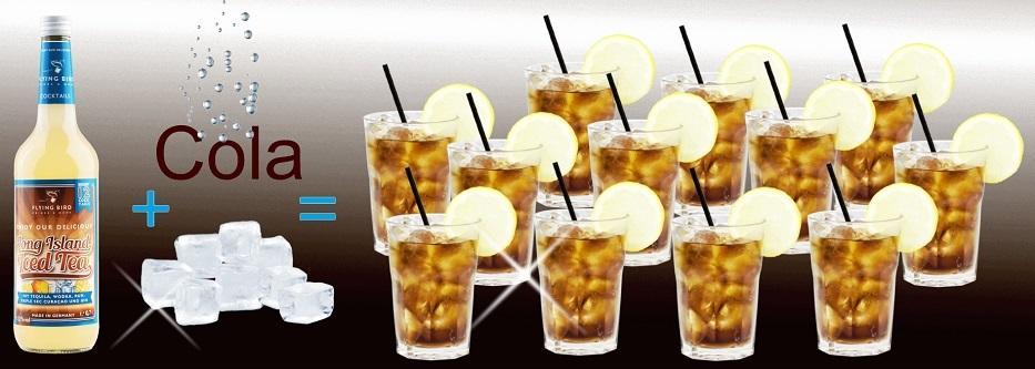 Eine Flasche Long Island Ice Tea Cocktail Premix plus Cola und Eis ergibt 12 fertige Cocktails