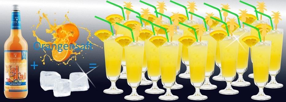 Flasche Mai Tai Cocktail Premix plus Orangensaft und Eis ergibt 17 fertige Cocktails
