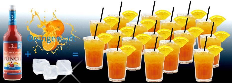 Flasche Planters Punch Cocktail Premix plus Orangensaft und Eis ergibt 17 fertige Cocktails