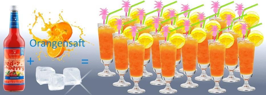17 Cocktails Red Berry mit Orangensaft fertig gemixt je 0,7 Liter Flasche