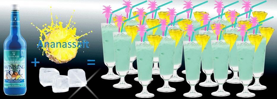 Flasche Swimming Cocktail Premix plus Ananassaft und Eis ergibt 17 fertige Cocktails
