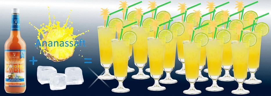 Flasche Zombie Cocktail Premix plus Ananassaft und Eis ergibt 17 fertige Cocktails