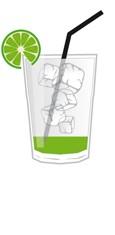 Caipirinha Zutaten in einem Cocktail Glas - schematische Darstellung