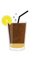Long Island Iced Tea Cocktail Zutaten in einem Longdrink Glas - schematische Darstellung
