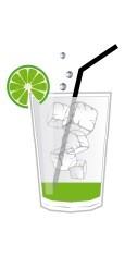 Mojito Cocktail Zutaten in einem Longdrink Glas - Schematische Darstellung