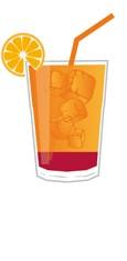 Planters Punch Cocktail Zutaten in einem Trinkglas - Schematische Darstellung