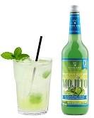 Mojito Flasche 0,7l und Cocktail im Glas mit Eis, Soda & Minzeblatt